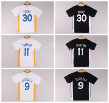 2014-2015 New Golden State 30 Stephen Curry 11 Klay Thompson 9 Andre Iguodala White Black Short Sleeves Jerseys ,Size:S-XXL(China (Mainland))
