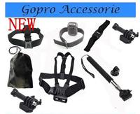 Go pro Accessories Black Edition Chest +WiFi Remote Wrist +Head Strap+Helmet +Bag+Selfie Monopod Mount Tripod for Gopro Hero 3 4