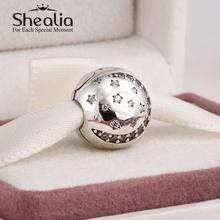 2014 New pave zircon christmas moon & star clip charms 925 sterling silver xmas charm fits pandora style diy charm bracelets