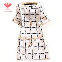 2015 Vestidos Plus Size Women Summer Short Sleeve Dress Lady Slim Elegant Chiffon Black and White Squares Office Dress D12461