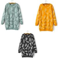 2014 2015 Women autumn spring Winter print hoodies Warm Round o Neck Long Jumper Polar Bear Shirt pullover