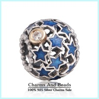 2014 New Night Sky Enamel Openwork Star Christmas Charms 925 Sterling Silver & 14K Real Gold Xmas Charms For Bracelets Er434