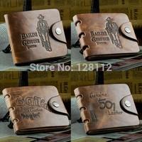 Lowest Price!10 styles!Premium Fashion Genuine leather men wallets bifold brown brand men wallet Retro purses Free shipping