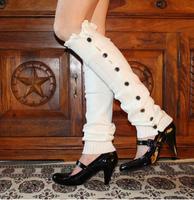 Hot Newest women girls leg warmers socks Button Down Boot Cuffs lace trim gaiters Boot Socks Crochet Leg Warmers Knit Leg