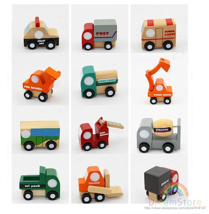 New Arrival Children Education Wooden Toys Mini Cars Wood Car 12pcs/Lot Wooden Car Mini Car Model HT155(China (Mainland))
