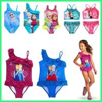 New 2014 Summer Girls Kids Children Frozen Elsa Anna Swimsuit Swimwear 2-9Ages Cartoon Print Parttern One pieces swismuit