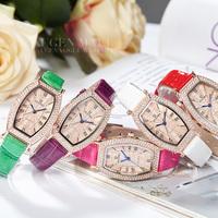 2015 new women classic Genuine Leather Strap luxury fashion casual wristwatch quartz rhinestone lady girl elegant relogio watch