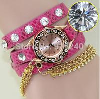 Free shipping 2015 fashion casual 2pcs creative bracelet watch diamond Wristwatches 8 colors--ewas