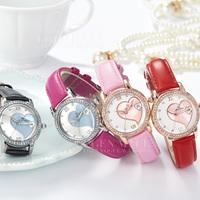 2015 new women top romantic genuine leather strap shell dial rhinestone fashion casual quartz wristwatches relogio dress watches
