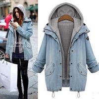 2014 New Women Coat Autumn Winter Jackets 2 Pieces Coat Denim Jacket And Vest Femae Casual Coat Loose Plus Size Jacket YYJ763