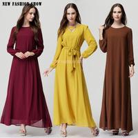 2015 Spring Summer Woman Clothing Slim Thin Bow Solid Color Simple  Muslim Female Garment Long Sleeve Chiffon Maxi Dress 6045