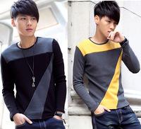 Korean fashion 2015 autumn and winter new  stitching men t-shirt thick velvet round neck  plus size(M-XXXL) LSH11-24