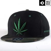 Leaf embroidery Hip-hop hat, baseball cap / tide flat brimmed hat men and women skateboard / Korean version of the hat