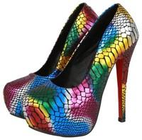 plus size eur 35-45 girls snake printed sexy red bottom high heels ladies shoes woman 2015 spring platform women pumps GD141521