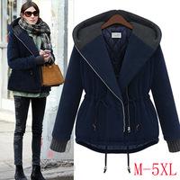New plus size 5XL Hoodie baggy 2014 Winter padded coat women's coat jacket