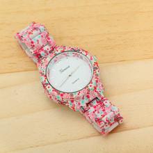 5 Colors Floral Flower GENEVA Watch GARDEN BEAUTY BRACELET WATCH Women Dress Watches Quartz Watches AW