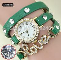 Free shipping 2015 fashion casual 2pcs creative bracelet watch diamond Wristwatches 7 colors--qww
