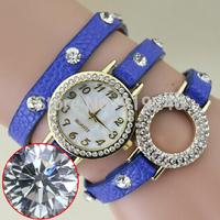 Free shipping 2015 fashion casual 2pcs creative bracelet watch diamond Wristwatches 5 colors--plok