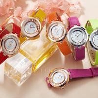 2015 Women Super Classic Casual Fashion Genuine Leather Strap Wristwatch Luxury Brand Top Rolling Rhinestone Girl Quartz Watches