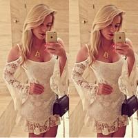 summer dress 2014 sexy Sling Pierced Lace dress o-neck white Slim long sleeve women Dresses vestido de renda vestidos