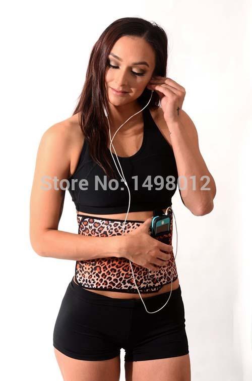 Neoprene Waist Trimmer Belt with Pocket Workout Gym Back Support Tummy Slimming Belt Weight Loss Brace for Women/ Men Leopard(China (Mainland))