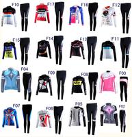 Lady Winter cycling women Thermal Fleece Long Sleeve Cycling Jersey pant set girl cycling jersey 17 style XS~4XL Free shipping