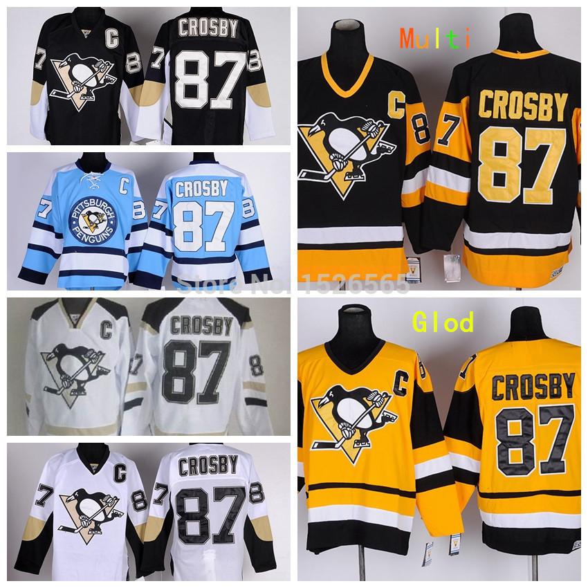 Sidney Crosby Jersey Men's Pittsburgh Penguins Jersey Crosby Alternate Hockey Jerseys Cheap Dark Blue Black Vintage Sewn(China (Mainland))