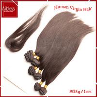 Indian virgin hair,6pc lot/205g Straight virgin Indian hair with free closure free shipping,cheap virgin hair 6pcs lots,no smell