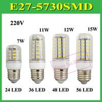 1Pcs SMD 5730 E27 B22 E14 GU10 G9 LED Lamp 7W 11W 12W 15W AC 220V 5730SMD Corn Bulb Light Chandelier 24 36 48 56 LED