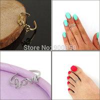 Trendy Sweet Love Toe Rings For Women Lady Gold/Silver Letter Love Foot Toe Rings Charm Open Rings One Size