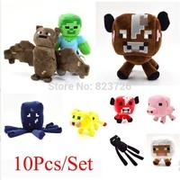 Wholesale 10pcs/Set Minecraft Plush Stuffy Doll Toys 13-26CM Enderman Creeper Bull Pig Dolls And JJ Toy For Children Presents