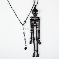 Min. order is $9(mix order) Fashion black skull new jewelry sweater chain