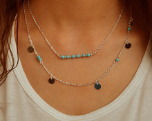 TX1209 Hot fashion simple gold and silver plated double chain turquoise beads sequins necklace for women best gift