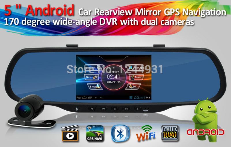 """Grátis frete 5 """" Android carro GPS espelho retrovisor com 170 grau DVR e câmera de visão traseira suporte 1080 P Vedio Blutooth FM Wifi(China (Mainland))"""