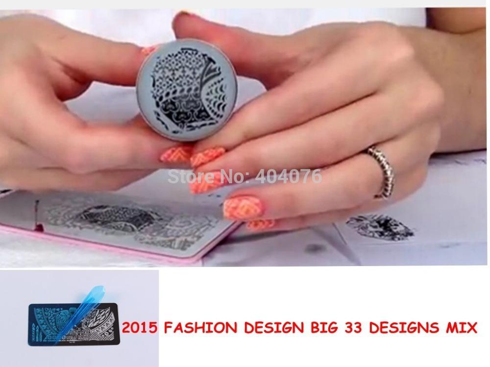 2015 HOT!! 32 PCS BIG Design Stamping Nail Art Template Pink Holder Image Plate to33-to64 Nail Art Stamping Free Shipping #P30(China (Mainland))