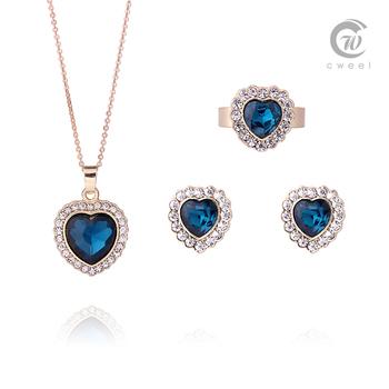 Женщины комплекты ювелирных изделий заявление ожерелье позолоченный CZ кристалл сумасшедший большой цветок тяжелая роскошь ну вечеринку серьги браслет кольцо