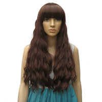 Long kinky curly brown wig sexy women wigs synthetic hair wig with bang party wig free shipping