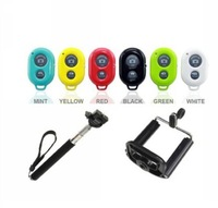 3in1/set  Wireless bluetooth remote shutter+handheld monopod+phone Clip holder For iPhone 6 5S 4S Samsung S5 S4 HTC ios Android