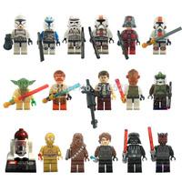 Star Wars Minifigures 17pcs/lot Yoda Han Solo Obi Wan Kenobi R4 Building Blocks Sets Model Classic Figure Toys Bricks