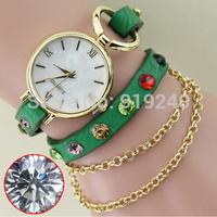 Free shipping 2015 fashion casual 2pcs creative bracelet watch diamond Wristwatches 8 colors--gyb