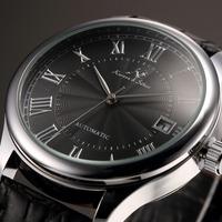KS Auto Date Display Black Silver Relogio Black Leather Band Analog Mens Casual Clock Wrist Men Automatic Mechanical Watch/KS244
