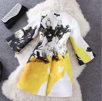 [SALE]High quality 2014 women ladies autumn winter fashion flower link print british style trench coat designer runway long coat