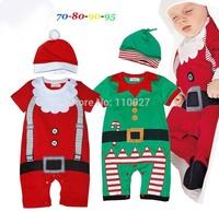 infant santa clothes red green hat + romper kids Christmas jumpsuit baby girl boy bodysuits for festival 4pcs kids printed wear