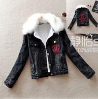 Korean fashion Slim, patch fur collar long-sleeved denim jacket thick, thick lamb's wool coat female tide of street