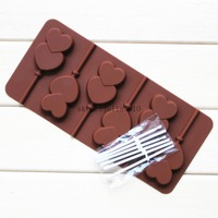 MIN ORDER AMOUNT $10.0  Silicone mould 6 lattices double of love lollipops DIY chocolate mold comes with a plastic rod
