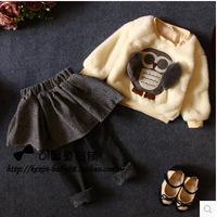2014 New Children girl animal woolen 2 pcs skirt clothes set owl pattern woolen hoodies + skirt pants Free shipping