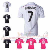 2015 Best Thai Quality 14 15 Real Madrid Soccer Jersey JAMES RONALDO BALE KROOS Home white Away pink ALONSO RAMOS Jersey 14/15