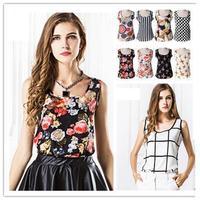 2014 Women Blouses Fashion Sleeveless Tops Print Chiffon Blouse Sheer Sleeve XXL Blusas Femininas Plus Size Shirt Women A22