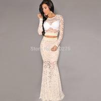 Full Dress Twinset Evening Dress Lace Perspective Long-sleeve Top Dress
