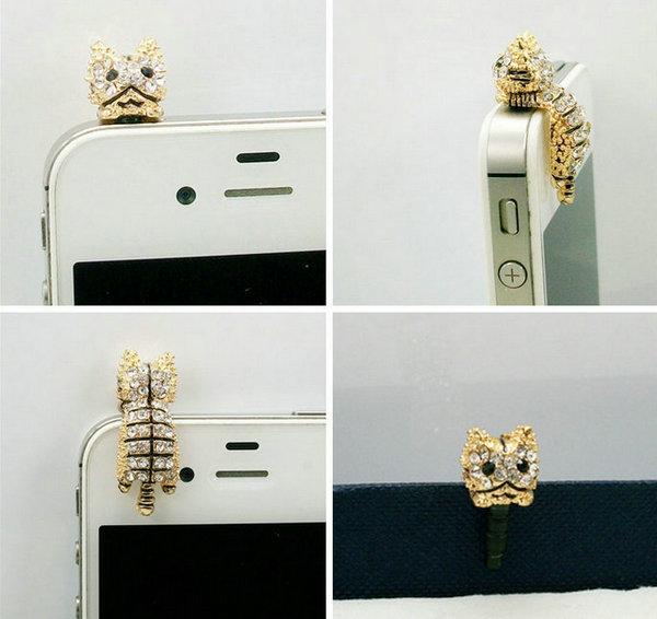 mond cartoon hello kitty cute cat dust plugs phone pendant Ear Cap Jack for iphone 4 5 4 5G Samsung HTC(China (Mainland))